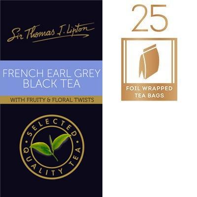 Sir Thomas Lipton Uncang Teh Hitam Celup Aroma Bergamot 2g - Campuran unik teh Earl Grey yang klassik dengan rasa flora dan buah-buahan yang menyegarkan.