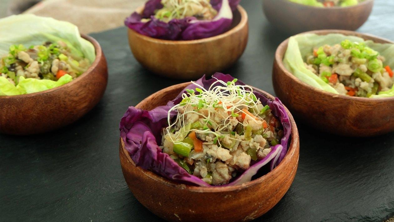 Stir Fried Chicken & Vegetables in Lettuce Cup